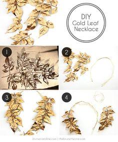 DIY Gold Leaf Necklace | Divine Caroline | The Brunette One