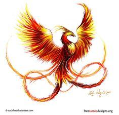 Phoenix bird tattoo design