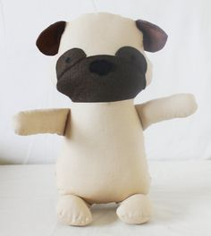 INSTANT DOWNLOAD!  An original Elf Pop toy sewing pattern to make a pug puppy. Do you know a child who would love and cherish their very own dog doll? Handmade toys are one of a kind and you can make a boy or girl doggy with your favourite colours and fabrics. This pug was designed by my pug loving 6 year old daughter, Evie. Any profit from the pug pattern will go to Evies savings as she wants to save for her very own pug dog.  A finished dog measures approx 12 (31cm) tall. The perfect size…