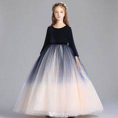 Modest / Simple Navy Blue Gradient-Color Champagne Flower Girl Dresses 2019 A-Line / Princess Scoop Neck Sleeve Floor-Length / Long Ruffle Wedding Party Dresses Wedding Dresses For Kids, Modest Wedding Dresses, Wedding Party Dresses, Dress Party, Princess Frocks, Princess Dress Kids, Gold Flower Girl Dresses, Girls Dresses, Flower Girls