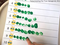 Fingerprint Counting Printables for Spring - Preschool activities - Preschool Classroom, Preschool Learning, Preschool Crafts, Preschool Bug Theme, Preschool Education, Spring Craft Preschool, Paper Crafts Kids, Preschool Room Decor, Aba Therapy Activities