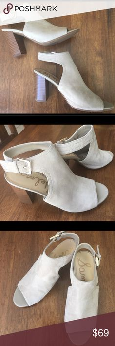 """New SAM EDELMAN Lt Grey heels Sz8 NWT New SAM EDELMAN Lt Grey Soft Suede heels Sz8 NWT full leather lined insole, rubber outer sole approx 3"""" heel; please see spot on side of shoe, last pix. Never Worn. NWT Sam Edelman Shoes Heels"""