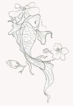 Japanese Dragon Koi Fish Tattoo Designs, Drawings and Outlines. The inspirational best red and blue koi tattoos for on your sleeve, arm or thigh. drawing 110 Best Japanese Koi Fish Tattoo Designs and Drawings - Piercings Models Japanese Koi Fish Tattoo, Koi Fish Drawing, Fish Drawings, Japanese Sleeve Tattoos, Tattoo Drawings, Art Tattoos, Pencil Drawings, Japanese Drawings, Drawings Of Flowers