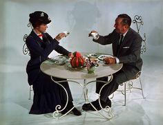 Julie Andrews and Walt Disney having some tea