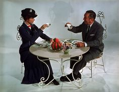 Julie Andrews and Walt Disney having some tea