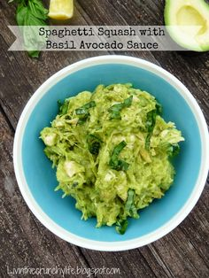 Spaghetti Squash with Basil Avocado Sauce and Grilled Chicken (Paleo, AIP friendly)