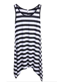 All-match Striped Casual Irregular Loose Dress