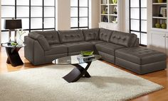 Aventura III Leather Collection - American Signature Furniture-5 Pc. Sectional $1,099.99