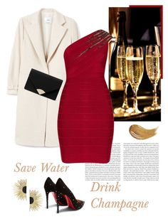 """Festive Mood"" by isidora ❤ liked on Polyvore featuring Anthropologie, MANGO, Hervé Léger, Christian Louboutin, MICHAEL Michael Kors, Too Faced Cosmetics, Aurélie Bidermann, Clutch, Heels and dress"