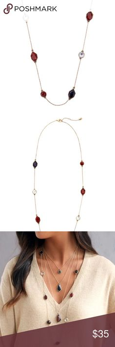 """Lotus TIGER AND ROSE long statement necklace Brand new gorgeous TIGER AND ROSE long statement necklace. Simple and classic. Beautiful red and navy stones with antique gold chain create warm feeling, perfect for the cold season. About 32"""" with 2"""" extender. Lotus by 17L Jewelry Necklaces"""