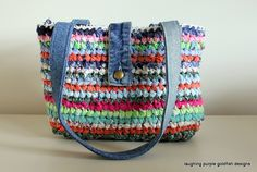 For sale $65  Denim and Rags - Crochet Bag - by laughing purple on madeit