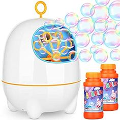 Amagoing Rechargeable Bubble Machine, Automatic Bubble Blower for Kids with Bubbles Solutions and 2 Blowing Speed Levels for Outdoor/Indoor Use Bubble Maker, Bubble Machine, Pokemon Terrarium, Bubble Party, Blowing Bubbles, Indoor Outdoor, Kids, Games, Tired