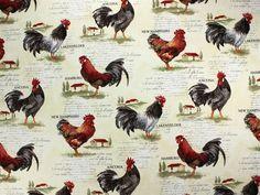 Dekostoff Huhn 2, 3220-01,  bei stoffe-hemmers.de, Sehr schöner Dekostoff mit Hühnermotiven, Schriftzügen und Städtenamen