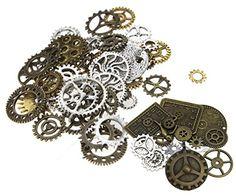 100x Perlen Uhr Anhänger Steampunk-Sets mit Zahnräder für…