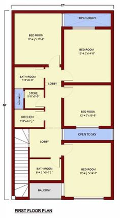 Ground floor plan 2 bedrooms 1 bathroom& 1 toilet kitchen drawing room t.v lounge car porch for one car first floor plan 4 bed rooms 2 bathrooms 1 toilet 1 10 Marla House Plan, 2bhk House Plan, Simple House Plans, House Layout Plans, House Plans One Story, Best House Plans, House Layouts, House Floor Plans, Story House
