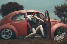 vw Beetle Red. Pin UP girl