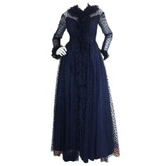 1960s Deep Blue Silk Tulle Alfred Bosand Gown   From a collection of rare vintage evening dresses at https://www.1stdibs.com/fashion/clothing/evening-dresses/