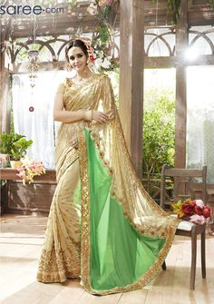BEIGE AND GREEN FAUX GEORGETTE SAREE WITH EMBROIDERY WORK