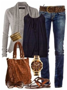 I like the cardigan and jeans. Not a fan of spaghetti straps, the purse, or the watch