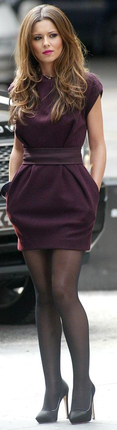 Cheryl Cole, love this dress and this color what a great shape,