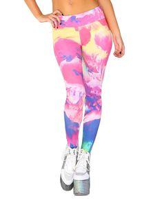 eddf662cf2a45 INTO THE AM Jawbreaker Women's All Over Print Leggings Mesh Skirt, Rave  Gear, Printed