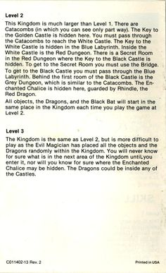 Atari 2600 - Adventure (1979) CX-2613 - Game Program Instructions - Page 8