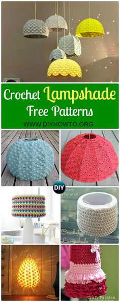 Collection of Crochet Lamp Shade Free Pattern: Crochet LampShade Makeover Free Patterns. Crochet Lamp Shade Cover, Chandelier via DIYHowTo