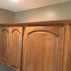 Prefect match. Made and finished crown molding to match existing cabinets #customwoodworking #hardwoods #entertainmentcenter #kitchencabinets #lnk #classicwood via ClassicWoodLincoln.com