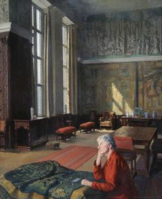 Evelyn Fitzmaurice (1870–1960), Duchess of Devonshire by Edward Irvine Halliday. The Duchess seems to be pondering the next step: should she continue what she's doing--repairing the tapestry in front of her (we can see what she's doing because her sewing kit is right there)--or just forget the whole thing, since by the time this was painted, the bombing of Britain has already begun? Magnaverde.