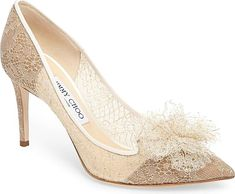 1442cf2d8271 Jimmy Choo Women s Shoes in Champagne Color. Slender metallic threads wind  captivatingly through the Chantilly