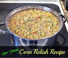 Youve got to try this homemade corn relish recipe! Its the best one Ive ever tried! This stuff never lasts very long in our house after we open a jar! Grilling Recipes, Snack Recipes, Healthy Recipes, Corn Relish Recipes, How To Peel Tomatoes, Fabulous Foods, Canning Recipes, Vegetable Recipes, Summer Recipes