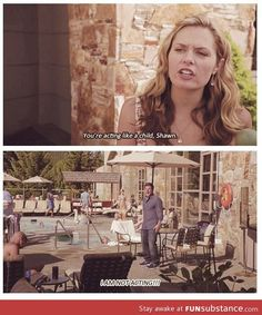 """Jules: """"now you're acting like a child, Shawn."""" Shawn: """"I'm not acting!"""" Psych was the best show ever! Psych Memes, Psych Quotes, Psych Tv, Tv Quotes, Best Tv Shows, Best Shows Ever, Quick Jokes, I Know You Know, Plus Tv"""