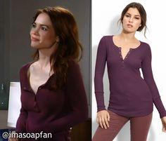 Elizabeth Webber's Purple Thermal Henley - General Hospital, Rebecca Herbst #GH #GeneralHospital Fashion #imasoapfan