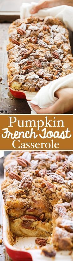 A quick overnight pumpkin french toast casserole recipe that can be assembled ahead of time and baked for breakfast or brunch! Topped with a jumbo lump pecan streusel and just lightly sweet. This is going to be your go-to fall breakfast! Breakfast Desayunos, Breakfast Dishes, Breakfast Recipes, Breakfast Casserole, Breakfast Ideas, Overnight Breakfast, Brunch Ideas, Toast Ideas, Pumpkin Breakfast