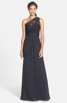 but looks like they only have 2 sizes left and Jim Hjelm Occasions One-Shoulder Lace & Chiffon Gown available at Homecoming Dresses, Bridesmaid Dresses, Prom, Bridesmaids, Jim Hjelm Occasions, Romantic Lace, Chiffon Gown, Wedding Party Dresses, Evening Dresses