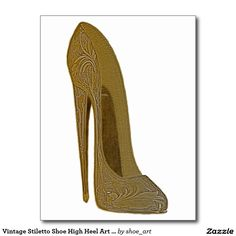 Vintage Stiletto Shoe High Heel Art Gifts Postcard