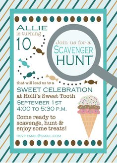 magnifying glass scavenger hunt birthday party invitations