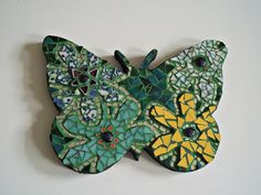 Etsy Butterfly Mosaic Wall Art Broken China Home Decor Housewarming Hippie Boho Flower Power Stained Glass Wall Art Decor Nursery #bestofEtsy #gifts