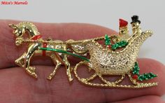 Vintage Christmas Horse and Sleigh Brooch Pin Signed Gerry's from mitsismarvels on Ruby Lane