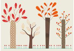 Set of Flat Autumn Vector Trees