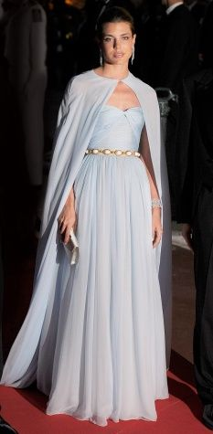 "Charlotte Casiraghi  in a  gown by Giambattista Valli in ""Princess Grace blue"" for the July 2, 2011 wedding dinner of her uncle HSH Prince Albert of Monaco to Miss Charlene Wittsock."