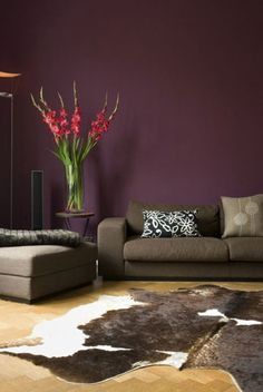 aubergine purple and grey modern living room. Maybe as an accent wall in the bedroom. Purple Living Room Paint, Living Room Paint Design, Room Paint Designs, Purple Rooms, My Living Room, Living Room Decor, Dining Room, Salons Violet, Fireplace Accent Walls