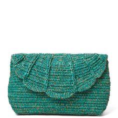shimmery crochet clutch purse