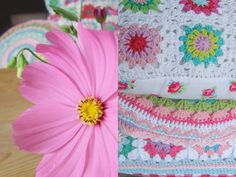 Haken en meer: Large pillows.... love the floral backing on the crochet cushion
