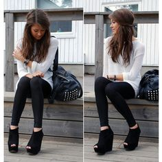 Suede wedges, plain white shirt. Simple, too cutee