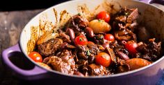 Lamb neck chops are braised in red wine before getting tossed with olives and tomatoes in this recipe from Houston chef Chris Shepherd's new restaurant, One Fifth. Lamb Neck Recipes, Meat Recipes, Cooker Recipes, Healthy Recipes, Healthy Food, Recipies, Butternut Soup, Braised Lamb, Lamb Dishes