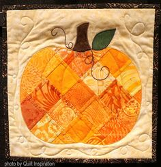 Patchwork Pumpkin by Barbara Raisanen (Arizona). photo by Quilt Inspiration: Quilts to Celebrate Autumn! Halloween Quilts, Fall Quilts, Miniature Quilts, Quilted Wall Hangings, Fall Crafts, Table Runners, Quilt Blocks, Quilt Patterns, Crocheting