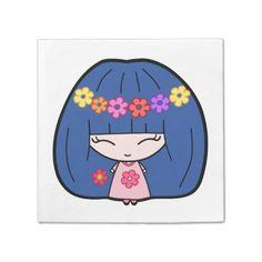 Custom Paper Napkins With Cute Blue Kawaii Girl