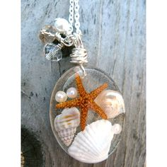 Beach Necklace - Real shells and starfish in Resin - Ocean Life... ($13) ❤ liked on Polyvore