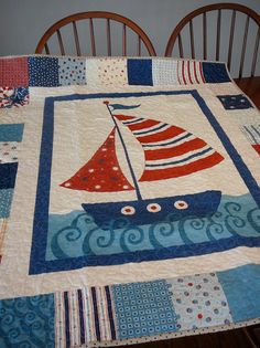 Sailing Ship Baby Quilt in Blue and Red Nautical and by shancee @ etsy